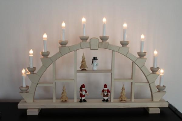 Schwibbogen Holz natur 64x40 cm 10 Kerzen Schneemann + Weihnachtsmann + Bäumen natur