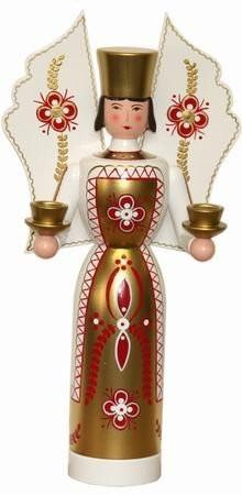 Lichtträger Engel rot weiss Wachskerze, 36 cm