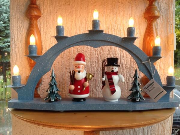 Schwibbogen Erzgebirge aus Holz blau mit 7 elekr. Kerzen ohne Setzkasten - 47 x 28cm