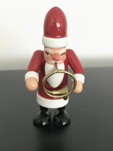 Weihnachtsmann mit Waldhorn Dekofigur aus Holz 7,5cm