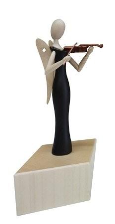 Engel Sternkopf aus Makassar mit Geige stehend auf Sockel 8cm