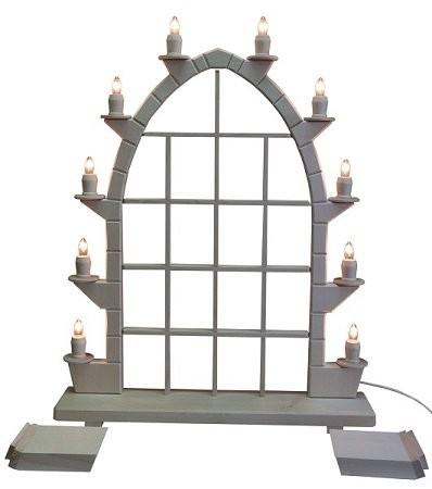 Schwibbogen Gothik Holz natur mit 10 elektrischen Kerzen und Setzkasten 47x72cm