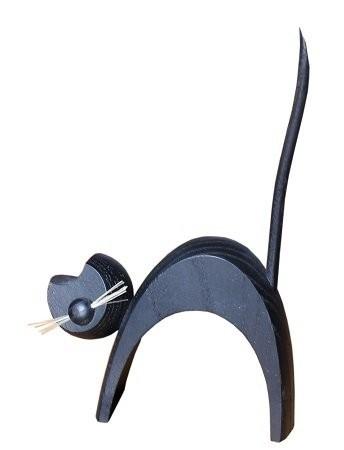 Holzfigur Katze schwarz stehend - 13cm