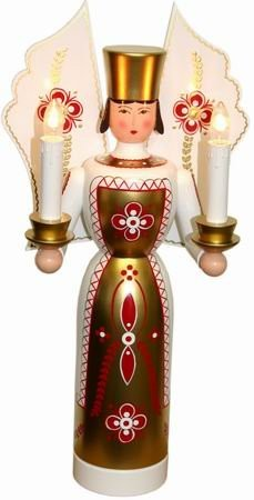 Lichtträger WeihnachtsEngel rot weiss elektrische Kerzen, 36 cm