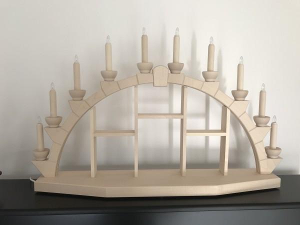 Schwibbogen aus Holz natur mit 10 elekr. Kerzen Setzkasten - 95x60 cm