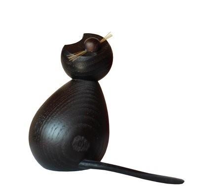 Holzfigur Katze schwarz Der Träumer - 8cm