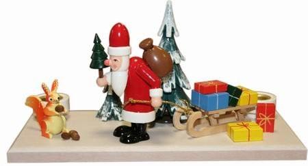 Lichthalter Weihnachtsmann Winterwald Holz gross 12 cm