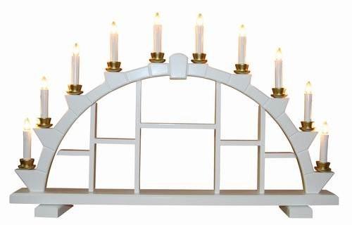 Schwibbogen aus Holz weiss mit 10 elekr. Kerzen Setzkasten - 64x40 cm