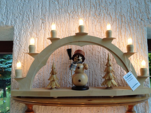 Schwibbogen Erzgebirge aus Holz natur mit 7 elekr. Kerzen Setzkasten - 58x40 cm